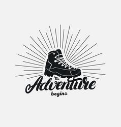 the adventure begins hand written lettering vector image vector image