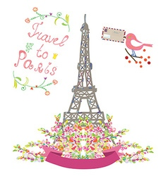 Travel to Paris cute poster with flowers and bird vector image