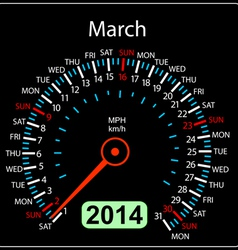 2014 year calendar speedometer car in March vector image