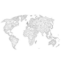 Abstract world map of polygonal lines and dots vector