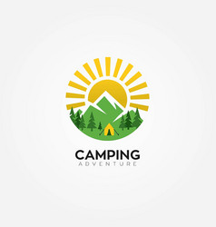 adventures summer camping logo vector image