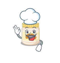 Almond butter cartoon character working as a chef vector
