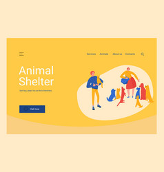 Animal shelter website ui layout template woman vector