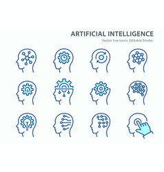 artificial intelligence line icons set blue vector image