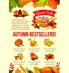 autumn sale banner of thanksgiving discount offer vector image