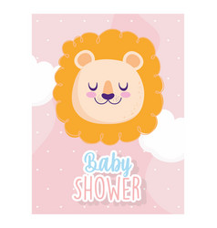 baby shower cute face lion clouds hearts vector image