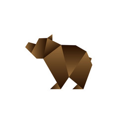 bear in origami style vector image