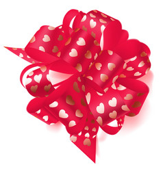 big bow made of ribbon with small hearts vector image