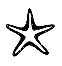 black icon starfish cartoon vector image