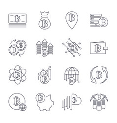 blockchain cryptocurrency line icon set included vector image
