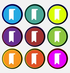 Bookmark icon sign Nine multi-colored round vector