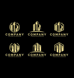building logo template with gold color illu vector image