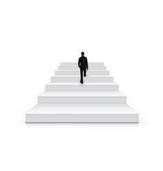 Businessman climbing stairs be the first concept vector