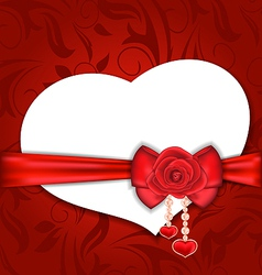 Card heart shaped with silk bow and red rose for vector image