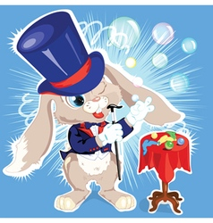 Cartoon bunny conjurer vector