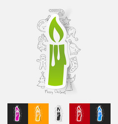 christmas candle paper sticker with hand drawn vector image