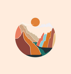 Circle shaped colorful abstract mountains vector