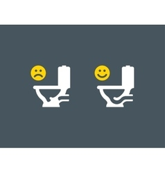 Clogged and unclogged toilet symbol vector