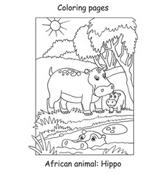 coloring hippo vector image