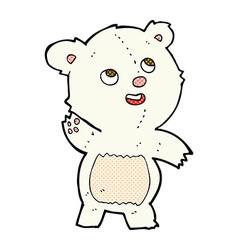 Comic cartoon cute waving polar bear teddy vector