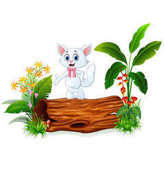 cute baby cat posing on tree trunk vector image