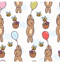 Cute bear flying on a balloon seamless pattern vector
