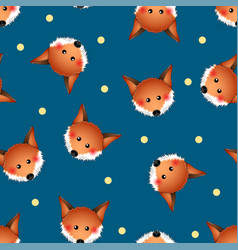 cute red fox on indigo blue background vector image