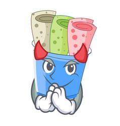 Devil ice cream rolls at cups cartoon vector