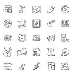 doodles set music vector image