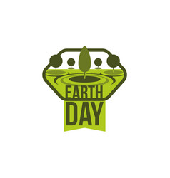 earth day green planet tree nature icon vector image