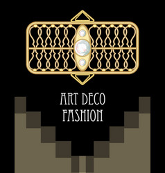 Expensive art deco filigree brooch in rectangle vector
