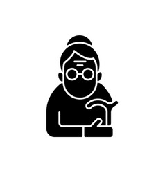 Female pensioner black glyph icon vector