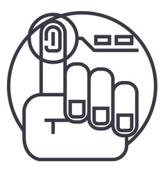 finger print line icon sign vector image