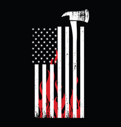 firefighter tool and american flag vector image