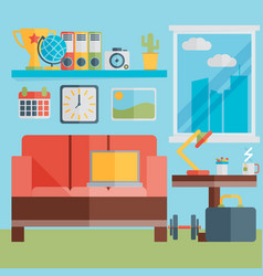 flat design of modern home office interior with vector image vector image