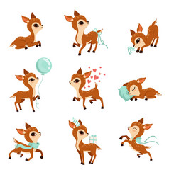 Flat set of cute fawn in different actions vector