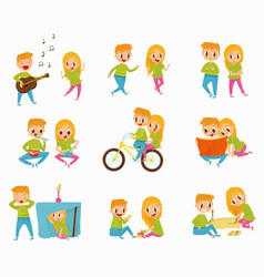 Flat set with little boy and girl in vector
