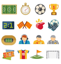 Football sports flat icons soccer game vector