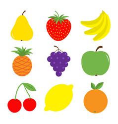 Fruit berry icon set pear strawberry banana vector