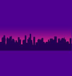 futuristic sunset cityscape silhouette vector image