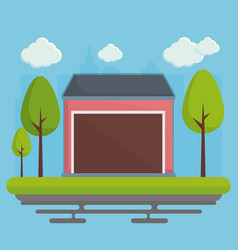 Garage and trees icon vector