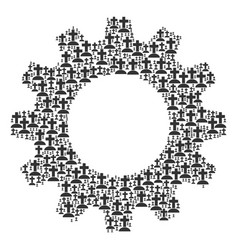 gear wheel composition of cemetery icons vector image