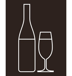glass champagne and bottle vector image
