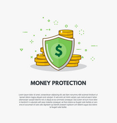 Golden coins protection vector