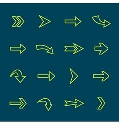 Green arrow signs lines icon set vector image