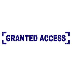 Grunge textured granted access stamp seal inside vector