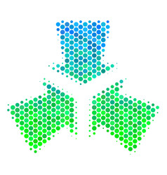 Halftone blue-green shrink arrows icon vector