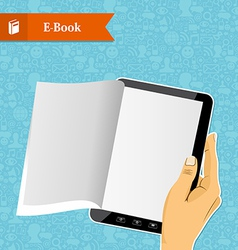 Hand holding an electronic book vector image