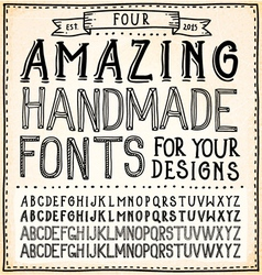 Handwriting Alphabets Hand Drawn Fonts vector image