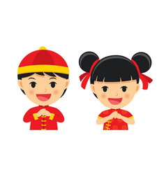 happy chinese new year boy and girl in vector image